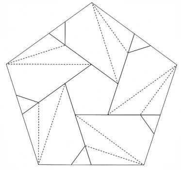 Схема паттерн сборки оригами из бумаги лотос