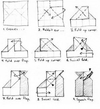 Схема сборки Бурый Медведь оригами