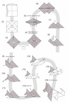 Схема сборки оригами собака породы Хаски
