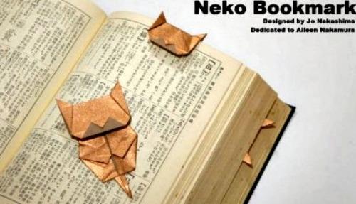 Закладка оригами в виде кошки своими руками