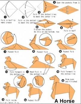 Лошадь оригами схема сборки от мастера Fumiaki Shingu