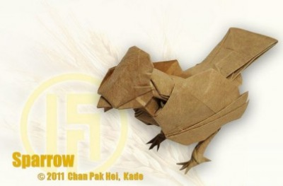 Оригами птичка Воробей за схемой Kade Chan