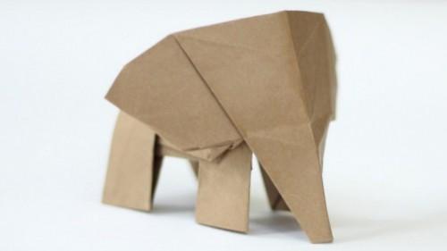 Оригами слонёнок за схемой Tadashi Mori