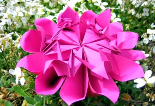 Оригами цветок с журавликами Crane Flower