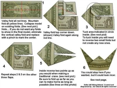 Шлем викинга Moneygami схема сборки от автора Joe Gilardi