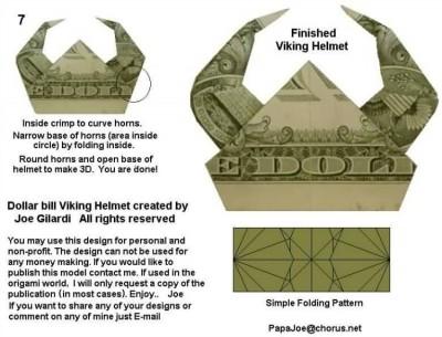 Схема сборки Шлем викинга Moneygami