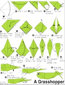 Схема сборки оригами Кузнечик