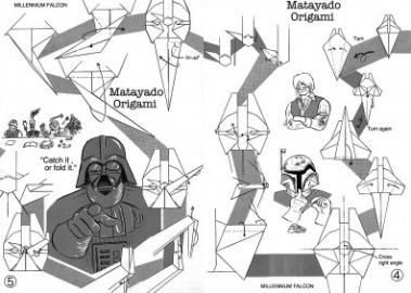 Схема сборки оригами корабль Millennium Falcon