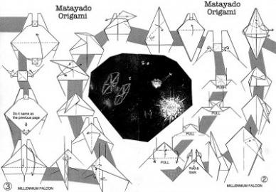 Схема складывания корабля Millennium Falcon оригами