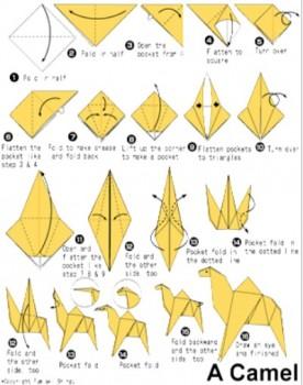 Верблюд оригами схема сборки от автора Fumiaki Shingu