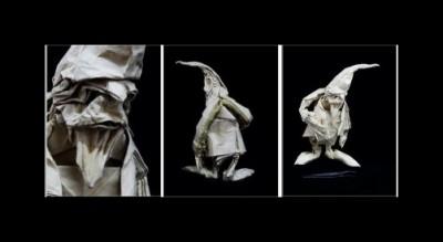 Гном оригами за схемой Eric Joisel