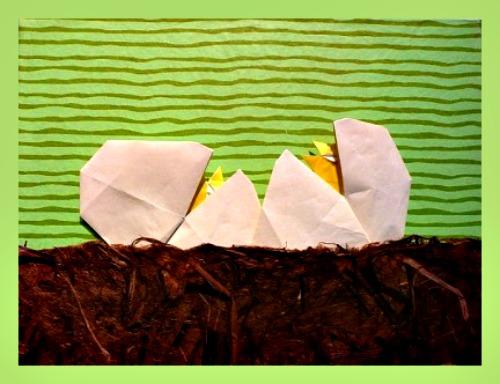 Композиция из оригами Рождение птенца за схемой Peter Engel