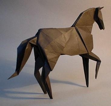Оригами из бумаги лошадь от Hideo Komatsu