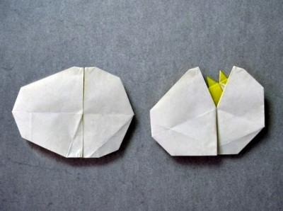 Оригами из бумаги яйцо с маленьким птенчиком