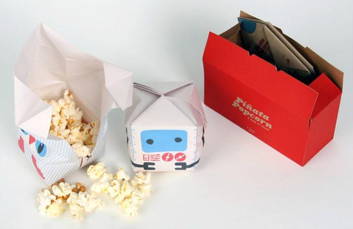 Оригами-упаковка для попкорна от японского дизайнера Nicolas Menard