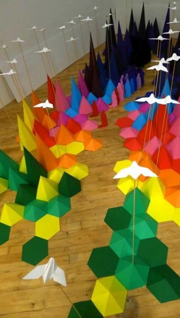 Оригинальная инсталляция оригами от Мадемуазель Морис и Сары Апплбаум