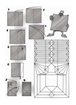 Паттерн по сборке оригами Самоделкин от Eric Joisel