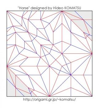 Паттерн сборки оригами лошадь от Hideo Komatsu