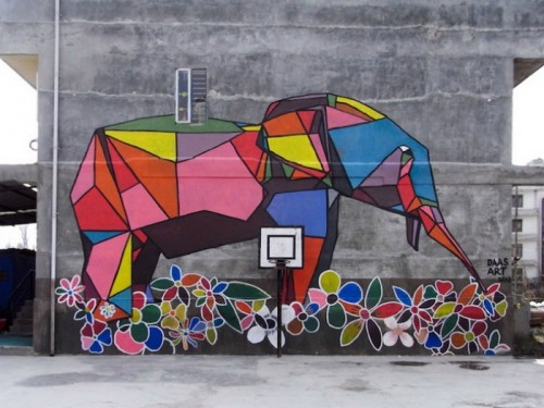 Стрит-арт в стиле оригами: рисунки от художника Daas на улицах Катманду