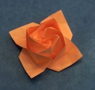 Розочка из бумаги оригами от Akira Yoshizawa