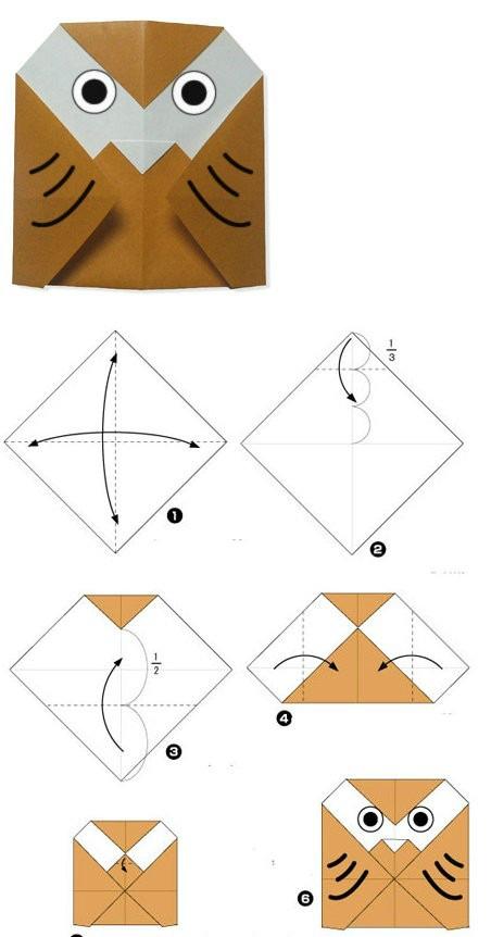 Схема сборки Cовы оригами