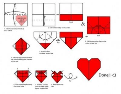 Схема сборки Оригами сердце