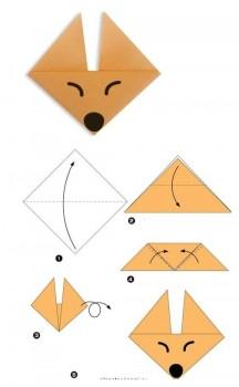 Схема сборки мордочка Лисы оригами Лиса