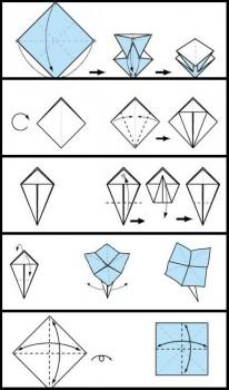 Схема сборки цветка оригами для начинающих