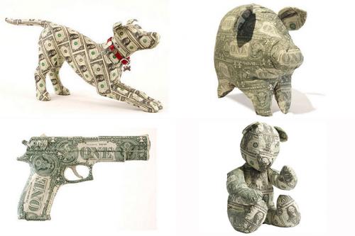 Скульптуры из денежных купюр от Джонни Свингом и Марком Вагнером