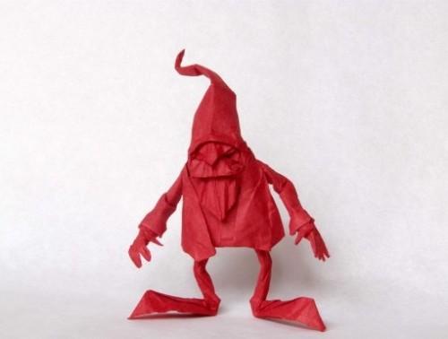 Сложное оригами Гном за схемой Eric Joisel