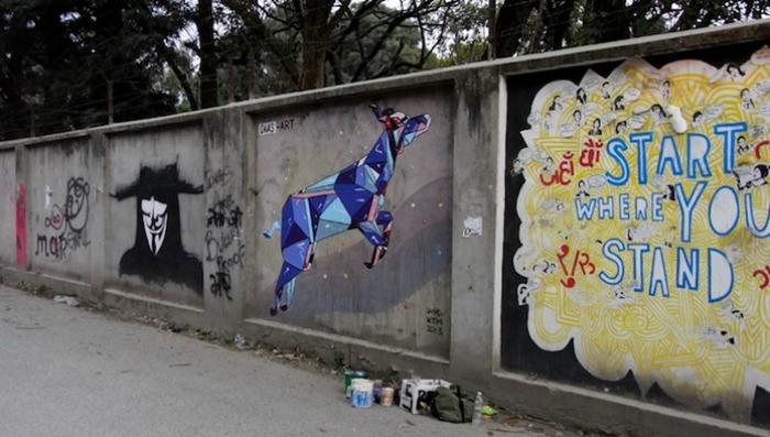 Стрит-арт оригами от художника Daas
