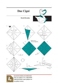 Двойной лебедь оригами за схемой 1