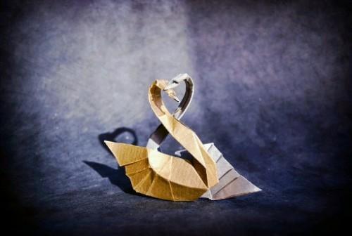 Двойной лебедь оригами за схемой David Derudas