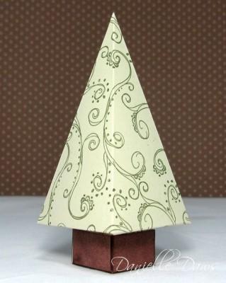Елочка оригами - новогодняя подарочная коробочка