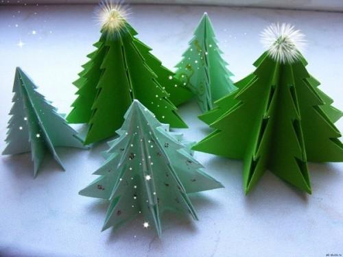 Красивая Новогодняя елка в стиле оригами
