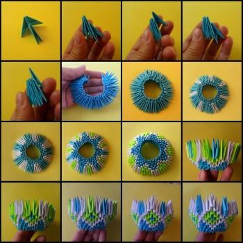 Модульное оригами конфетница схема складывания 1