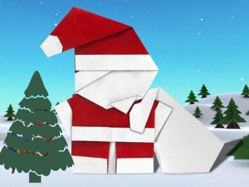 Новогоднее оригами Санта Клаус