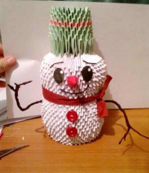 Новогодние оригами Снеговик видео урок