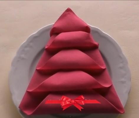 Новогодняя Ёлочка оригами из салфеток