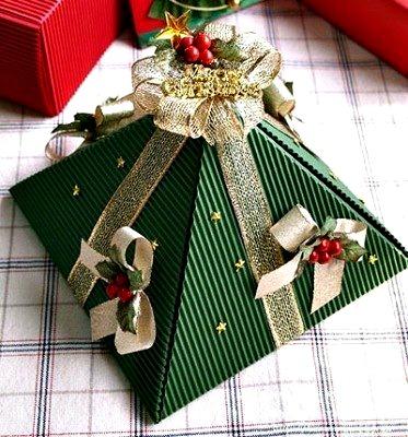 Новогодняя упаковка в технике оригами