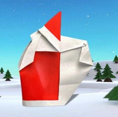 Оригами Дед Мороз за схемой