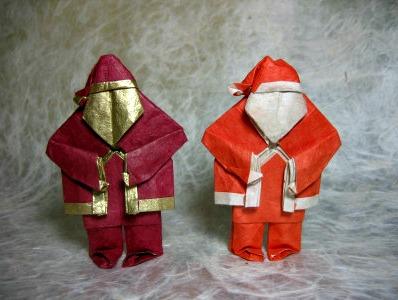 Оригами Дедушка Мороз за схемой Steven Casey