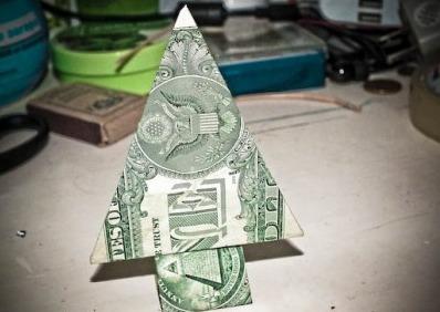 Праздничная Moneygami ёлка