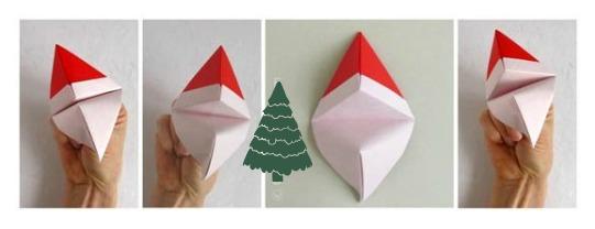 Простые новогодние фигурки оригами схемы сборки Санты