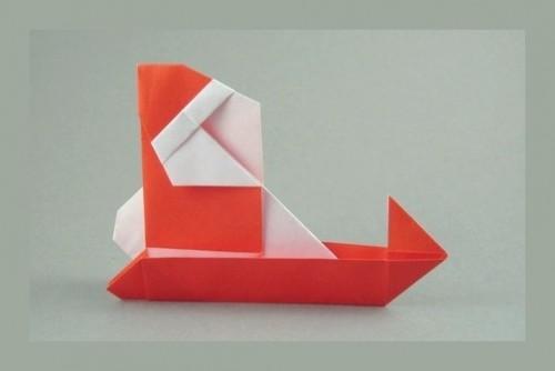 Санта в санях оригами для начинающих видео - схема от Sanae Sakai