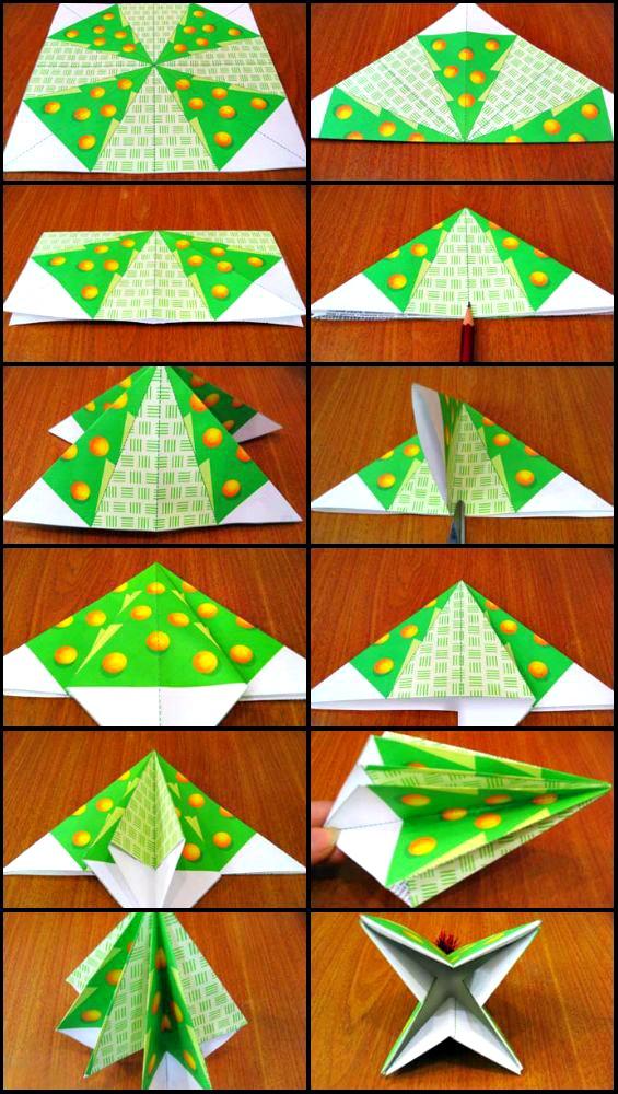 Схема оригами Ёлка для детей