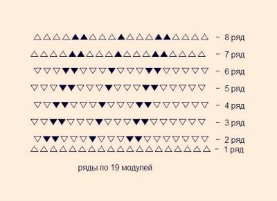 Схема сборки Шишки оригами из модулей