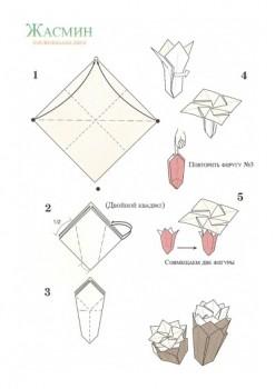 Как делать оригами цветок Жасмин схема сборки