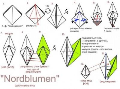 Кусудама Nordblumen схема сборки 1