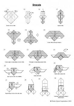 Оригами Дракула схема складывания 14-30
